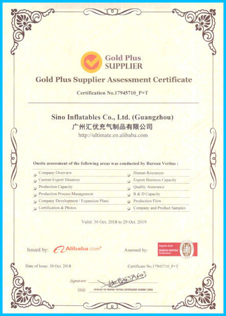 Chine Sino Inflatables Co., Ltd. (Guangzhou) Certifications